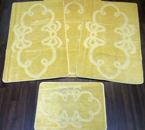 Non Slip Washable Romany Traveller/Gypsy Mat Set 4Pc Bow Lemon Available (1) (2)